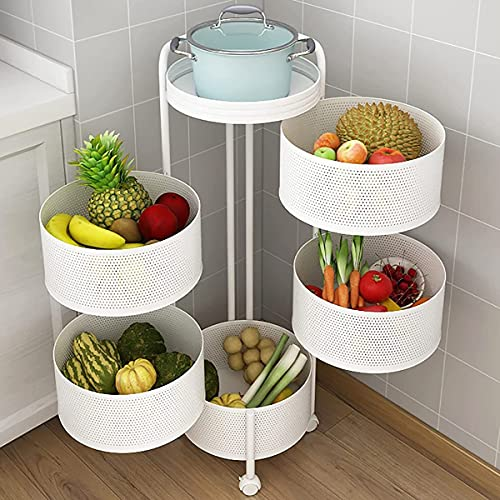 GFDGDS Estante Giratorio para Verduras Estante De Almacenamiento De Cocina De Varias Capas De Suelo (Color : Blanco)