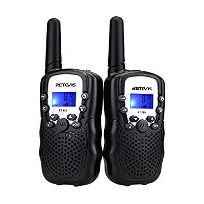 Retevis RT-388 Kids Walkie Talkies 22 Channels Two Way Radio for Kids Toys Long Range with Backlit LCD Display and Flashlight Walkie Talkies for Boys Girls to Camping,Hiking(Black,2 Pack) by Retevis