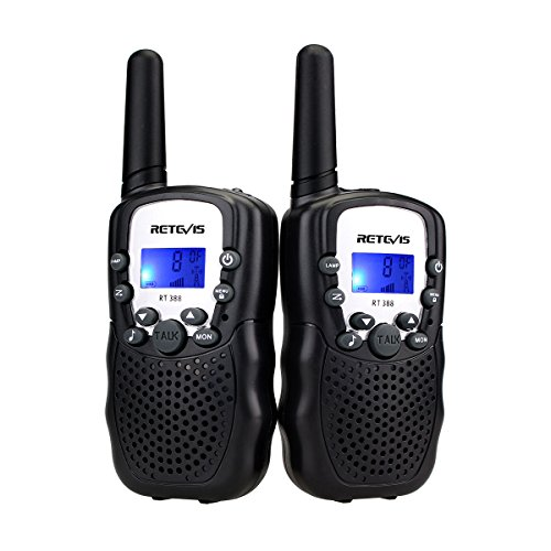 Retevis RT-388 Kids Walkie Talkies 22 Channels Two Way Radio for Kids Toys Long Range with Backlit LCD Display and Flashlight Walkie Talkies for Boys Girls to Camping,Hiking(Black,2 Pack)