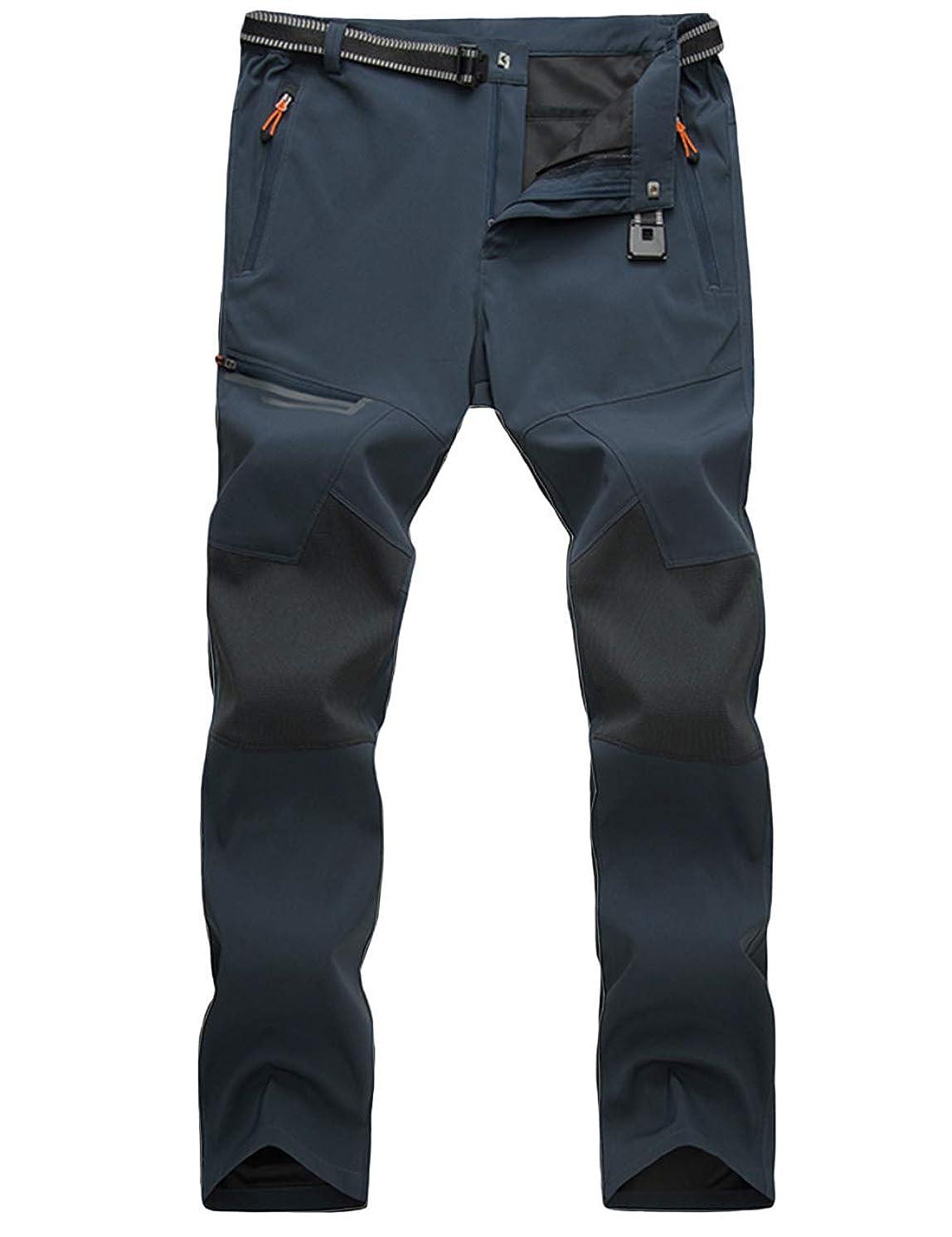 MAGCOMSEN Men's Outdoor Lightweight Hiking Camping Pants Multi Pockets Reinforced Knees Climbing Mountain Pants