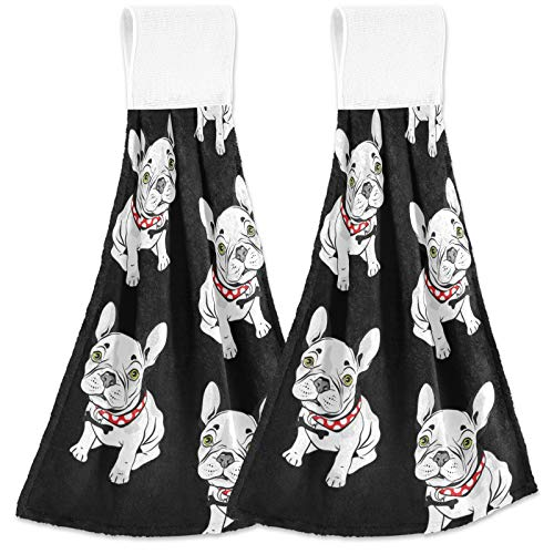 visesunny French Bulldog Animal Hanging Tie Towels 2 Pack Kitchen Hand Towels Dishcloths Sets with Loop Soft Cotton Absorbent Hand Towels for Bathroom Gym Restaurant Hotel BBQ Machine Washable