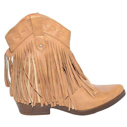 Malu Shoes Stivaletto Donna Cuoio CAMPEROS Basso con Frange A Punta Texani Tacco Basso Western Zip Moda (38 EU)