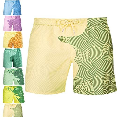 KFGJ BañAdor Que Cambia de Color Hombre,Pantalones Cortos Bañador para Hombre Que Cambia de Color Shorts de Baño Calzoncillos Masculinos de Baño 3XL A9