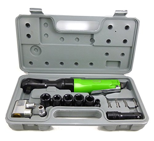 "Dynamic Power Professional 1/2IN. AIR RACHET WRENCH KIT, 1- 3/8""Ratchet Wrench; 4- 1/2 Dr., Impact Socket(11, 12, 13, 14mm),etc D320024K"