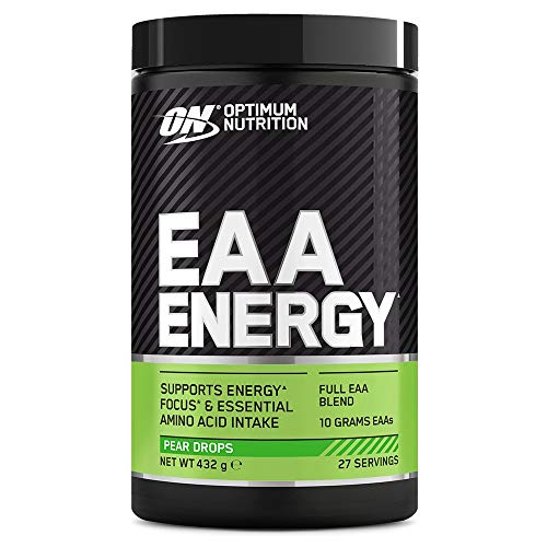Optimum Nutrition ON EAA Energy, Full Essential Amino Acids Blend with Caffeine, Sugar Free EAA Powder for Energy and Focus, Pear Drops, 27 Servings, 432 g