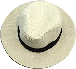 Unisex Straw Summer Fedora,Panama Trilby Sun HAT with Wide Black Band and Wider Brim