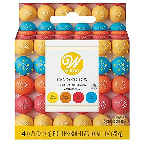 Wilton Candy Colors-Set fettbasierte Grundfarben für Schokoade, Kuvertüre und Fettglasuren Gelb Orange Rot Blau 4 x 7g