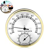 Higrómetro Termómetro Sauna,Accesorio para Sala de Sauna,Higrómetro termómetro analógico,TermóMetro para Sala de Sauna,Termómetro de Interiores y medidor de Humedad,2 en 1 Termómetro de Metal