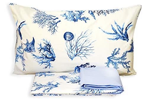 RP Juego de sábanas de Playa para Acuario – Fabricado en Italia – 100% algodón de Trama tupida – 1 Plaza. Cama Individual – Azul