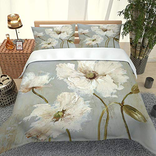 SDAWPOW Soft Microfiber Duvet Cover Set with Zipper Closure King Bed Printed Bedding Quilt Cover with Zipper Closure and 2 Pillow Cases Soft Microfiber 230x220cm Grey oil paint white flower