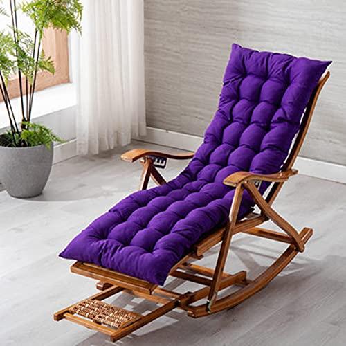 Tumbonas XIAOR Ajustable Mecedora Reclinable Silla de Salón Plegable Masaje de Pies Balcón Silla de Bambú Cojinete Cama de Jardín de 300 Kg Don Reposacabezas(Color:Púrpura)
