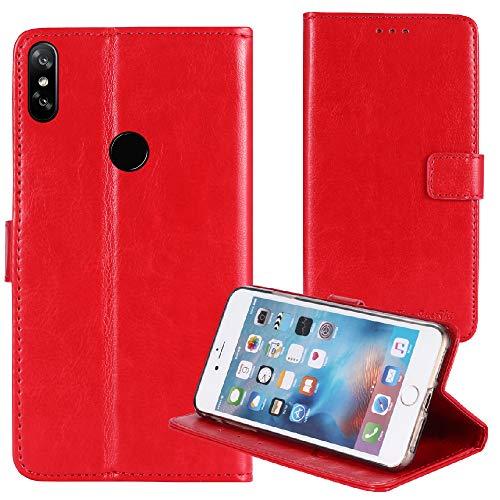 TienJueShi Rot Retro Business Flip Book Stand Brief Leder Tasche Schütz Hülle Handy Hülle Für Archos Oxygen 68XL 6.85 inch Abdeckung Wallet Cover Etui