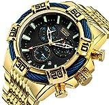 Relojes de cuarzo para hombre, cronógrafo, calendario, cronógrafo, correa de acero, reloj de cuarzo, resistente al agua, reloj de negocio, color dorado y negro