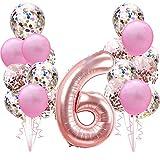 Decoración de cumpleaños de Oro Rosa para la Segunda niña: 100cm números Globos Gigantes de Papel de Helio número 6,Globos de Confeti Rosados para 6 años Fiesta de cumpleaños para niño niñas