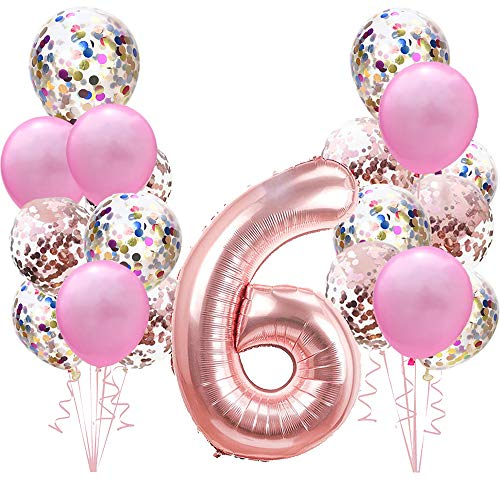 Geburtstagsdeko Rose Gold für 6.Mädchen Set:Riesen Roségold Helium Folienballons Zahl 6 (Zahlen 100cm)& Rosa Ballon & Konfetti Luftballons für 6 Jahre Kinder Junge Tochter Geburtstag Party Dekoration