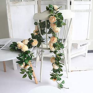 WEFOUND 2 x 200cm Artificial Ranunculus Blossoms Hanging Rattan Garland Wreath Fake Flower Vine Leaf for Home Party Garden Fence Wedding Christmas Decoration (Champagne)