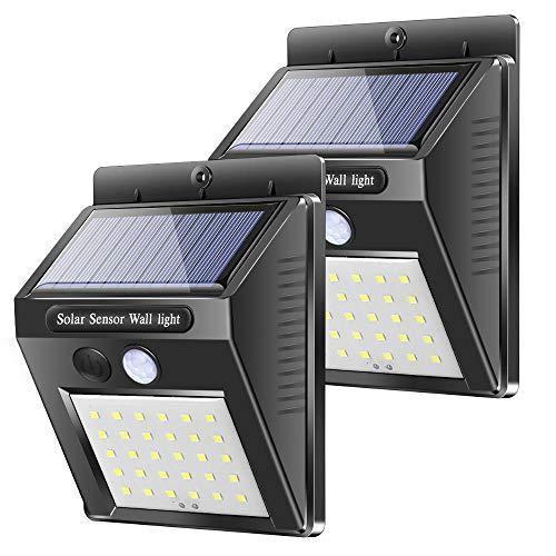 Solarleuchten für Außen Garten, Karrong Solar Wandleuchte mit Bewegungsmelder, 30 LED Solarlampen IP65 Wasserdicht Solarlampe Solarleuchte, 2 Stück