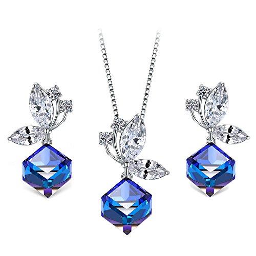 T400 vlinderjuwelenset, veranderende kleur kubieke hanger ketting en oorbellen gemaakt met Swarovski kristallen saffier blauw