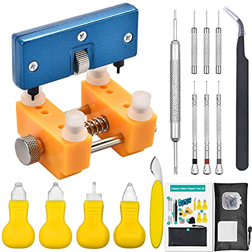 Watch Back Remover Tool Kit,Watch Link Removal Tool, Topway 6 types of Watch Back Removal Tool, Watch Battery Replacement Kit including Spring Bar Tool,Screwdriver,Tweezers and Instruction Manual.