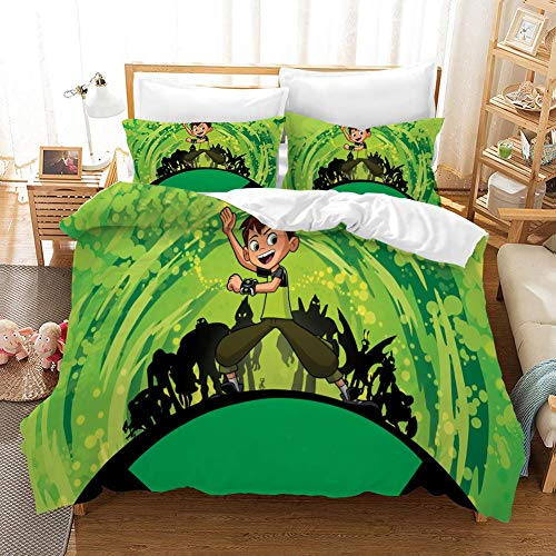 771 Duvet Cover Sets 3D Ben 10 Printing Cartoon Bedding Set With Zipper Closure 100% Polyester Gift Duvet Cover 3 Pieces Set With 2 Pillowcases A-GB SuperKing102*87'(260 * 220cm)