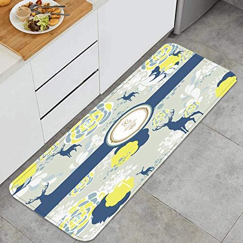Alfombra de Cocina Antideslizante,Encantadora Portada de Libro Impresa Estilo japonés,Estera de Cocina Felpudos Decorativo Alfombra para Dormitorio Baño Pasillo 45 x 120cm
