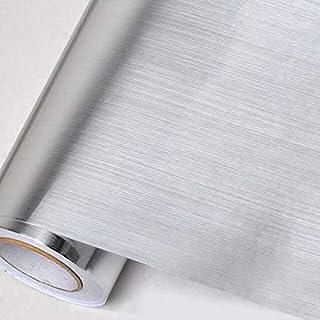 Papel Pintado Autoadhesivo de Vinilo de Acero Inoxidable Plateado para pelar y Pegar electrodomésticos de Cocina Papel de Contacto Adhesivo de 40 cm x 10 m