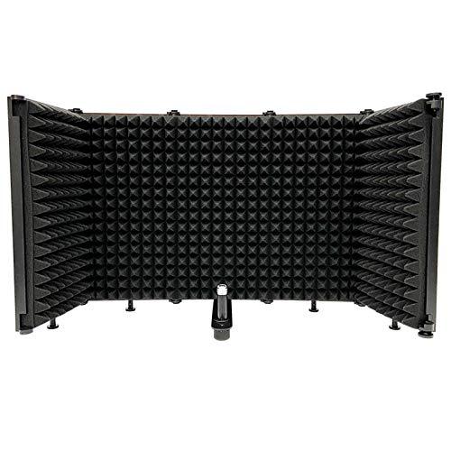 Sararoom protezione isolante per microfono pieghevole, isolatore per microfono regolabile per registrazione in studio con schiuma assorbente ad alta densità per filtri vocali 5 pannelli