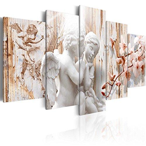 murando - Bilder Engel Vintage 200x100 cm Vlies Leinwandbild 5 TLG Kunstdruck modern Wandbilder XXL Wanddekoration Design Wand Bild - Orchidee Holzoptik Liebe h-C-0001-b-m