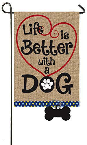 """Evergreen Life is Better with a Dog Double-Sided Burlap Garden Flag - 12.5""""W x 18"""" H"""