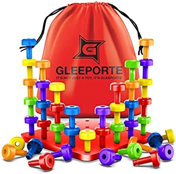 Gleeporte STEM Color Learning Sorting Matching Stacking Peg Board Set
