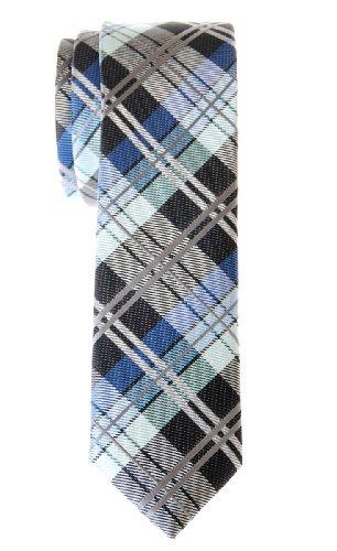 Retreez Herren Schmale Gewebte Krawatte Elegante Tartan Plaid Karo 5 cm - dunkelgrau und blau