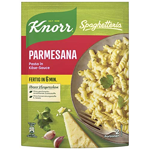 Knorr Spaghetteria Parmesana Nudel-Fertiggericht Pasta in Käse-Sauce, 163g 2 Portionen