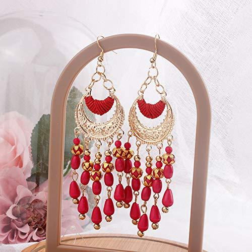 Pendientes colgantes de flores bohemias para mujer, estilo bohemio, vintage, palace, largos, perlas acrílicas, borlas, moda, bodas, joyas, regalos (metal color: E1795 rojo)