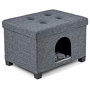 Pawristocrat Unique Multifunctional Pet House Ottoman with Tray Table – Folding Footrest Seat – Large Cat Cube Condo – Cat Bed for Indoor Pets – Houses for Cats and Small Dogs with Fully Washable Mat