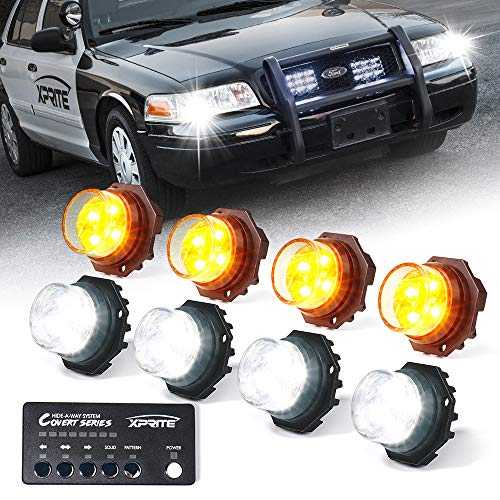 Xprite White Amber Yellow LED Hideaway Strobe Lights Kit 20 Flash Patterns Hazard Warning Light for Trucks, Police Cars, Emergency Vehicles - 8 PCs