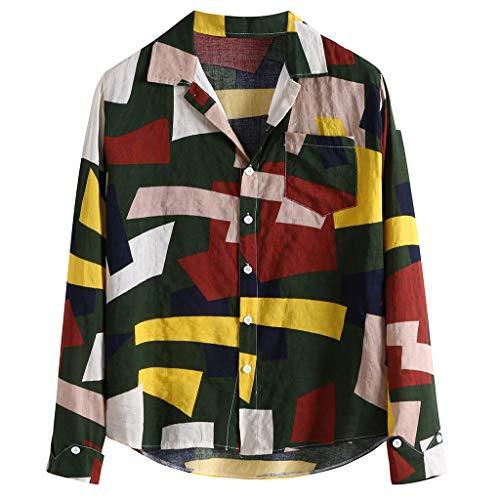 Mannen Casual V-hals Overhemd, Mannetjes Knopen Losse Lange Mouwen Hawaiiaanse Jurk Shirt Blouse Top Turn-Down Kraag