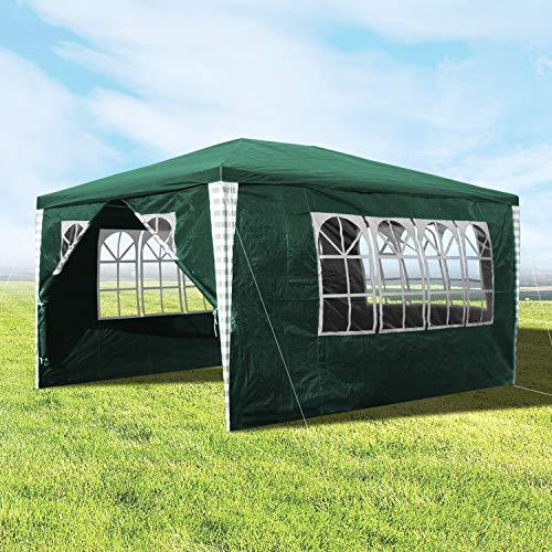 Hengda 3x4m Pavillon, Stabiles Gartenpavillon Grün Partyzelt mit 4 Seitenteile inklusive Zubehör, Material PE-Plane, für Garten, Festival, Markt