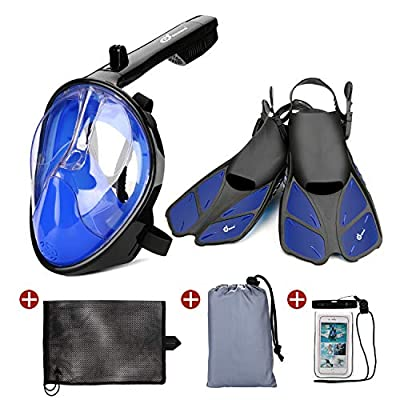 Odoland 5-in-1 Snorkeling Packages, Full Face Snorkel Mask with Adjustable Swim Fins and Lightweight Backpack and Waterproof Case - GoPro Compatible, Blue M