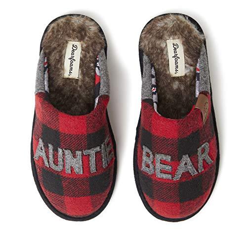 Dearfoams Women's Auntie Bear Slipper, Plaid, Medium