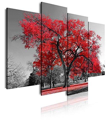 DekoArte 41 - Cuadros Modernos Impresión de Imagen Artística Digitalizada | Lienzo Decorativo para Tu Salón o Dormitorio | Estilo Paisaje Árboles Rojos Naturaleza | 4 Piezas 120 x 90 cm