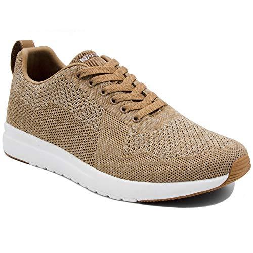 Nautica Men's Knit Casual Lace-Up Fashion Sneakers Oxford Comfortable Walking Shoe-Paylon-Tan-9