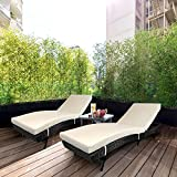 Leaptime Patio Seating Black PE Rattan daybed 3-Piece Outdoor Garden Furniture with Khaki Cushion Party Sectional daybed Poolside daybed Set of 2 and Rattan Side Tea Table