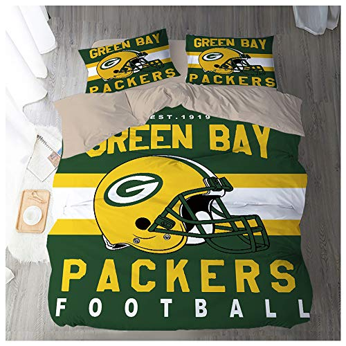 HOXMOMA Duvet Cover Sets 3D Printing NFL Green Bay Packers, Children Adult Bedding Set 3 Pieces 100% Polyester, Soft Microfiber Quilt Cover and 2 Pillow Shames,Green,UK 230x220