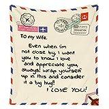 XZXZ Manta de Letra para Esposa/Novia,Manta de Franela Mensajes Personalizado Manta Regalo de cumpleaños de San Valentín,for Wife,140 * 180CM