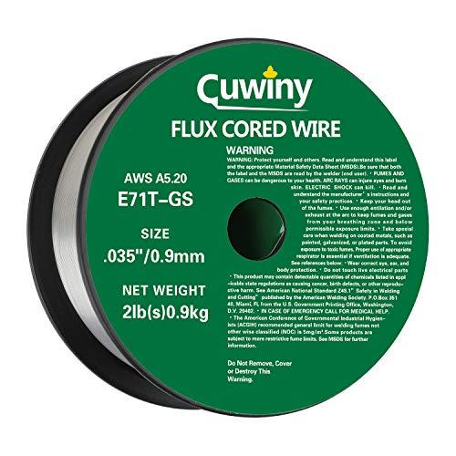 Cuwiny Gasless Flux Core Mig Wire, Mild Steel E71TGS.035-Diameter, 2-Pound Spool (0.035-Inch 2LB)