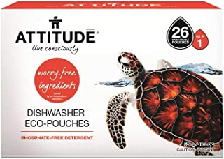 ATTITUDE Biodegradable Dishwasher Eco-Pouches, Safe for Sceptic Tank, Natural and Hypoallergenic, 26 Pouches