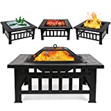 FIXKIT Fire Pit Table Outdoor with BBQ Grill Shelf, Multifunctional Garden Terrace Fire Bowl Heater/BBQ/Ice Pit, 32' Diameter Square Fireplace with Waterproof Cover