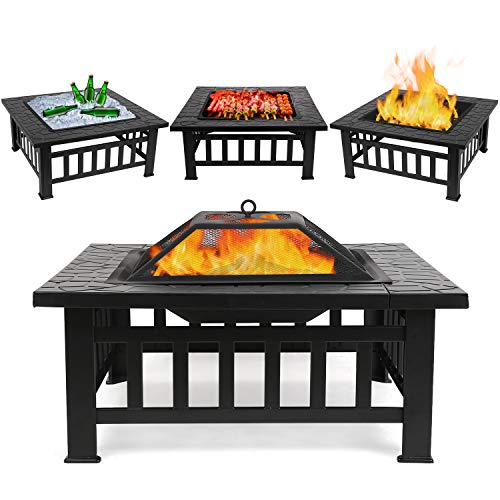FIXKIT Fire Pit Table Outdoor with BBQ Grill Shelf, Multifunctional Garden Terrace Fire Bowl Heater/BBQ/Ice Pit, 32