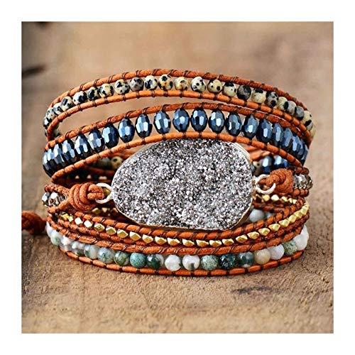 DERFX Women Bracelets Unique Natural Stones Rhinestones Gilded Charm 5 Layers Leather Wrap Bracelets Boho Bracelet Accessories
