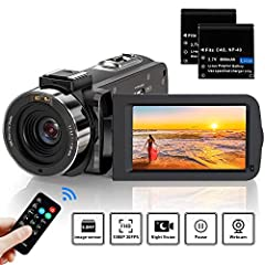 ビデオカメラ ACTITOP デジタルビデオカメラ HDビデオカメラ 3600万画素 HD1080P 16倍デジタルズーム 暗視機能 予備バッテリーあり リモコン付属 SDカード(最大64GB) 日本語システム (3600万画素) 黒